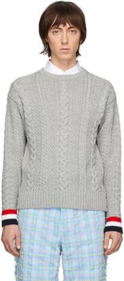 Thom Browne Grey Merino Aran Cable Sweater