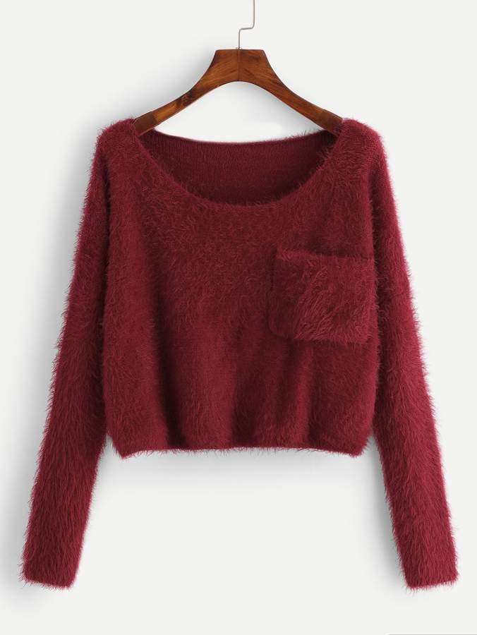 Pocket Patched Solid Fuzzy Jumper