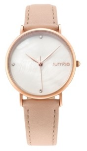 RumbaTime Lafayette Genuine Leather Strap Watch