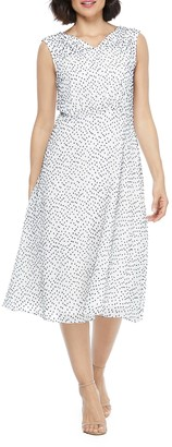 Maggy London Ruched Shoulder Dobby Midi Dress