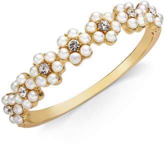 Charter Club Gold-Tone Crystal & Imitation Pearl Flower Bangle Bracelet
