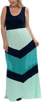Celeste Navy & Mint Chevron Maxi Dress - Plus