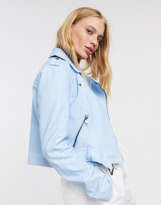 Only pastel faux leather cropped biker jacket in blue