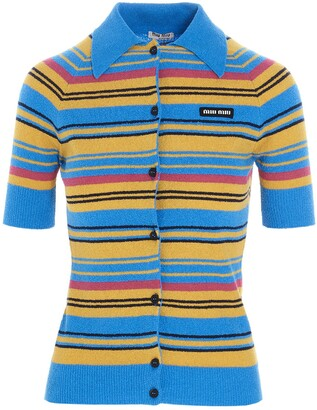 Miu Miu Short Sleeve Striped Cardigan
