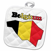 3dRose 777images Flags and Maps - The flag of Belgium in the outline map of the country and name Belgium - 8x8 Potholder (phl_57054_1)