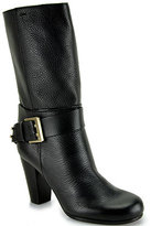Chloé CH19041 - Black Leather Buckled Mid-Shaft Boot