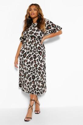 boohoo Plus Leopard Ruffle Midi Smock Dress