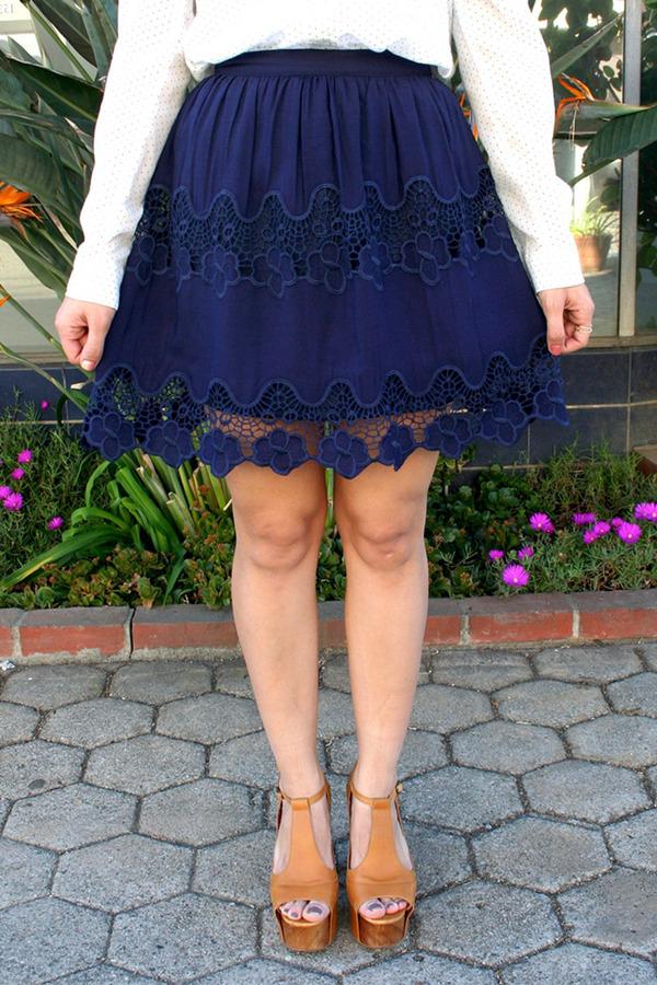 A. Peach Cutout Skater Skirt