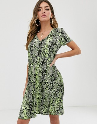 NA-KD Na Kd snake print button up short sleeve dress-Green