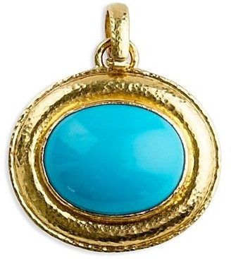 Elizabeth Locke Stone 19K Yelow Gold & Sleeping Beauty Turquoise Large Oval Pendant