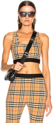 Burberry Logo Bra Top in Antique Yellow Check | FWRD