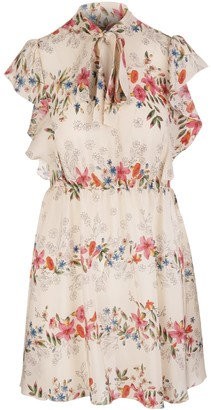 RED Valentino Multicoloured Silk Frilled Floral Print Dress