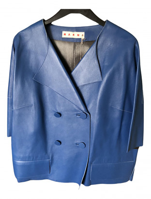 Marni Blue Leather Jackets