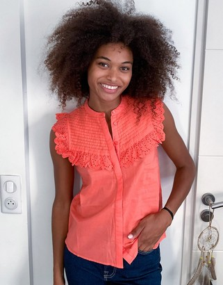 Vero Moda blouse with frill detail in pink