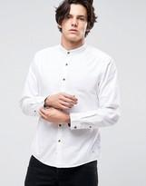 Esprit Grandad Shirt In Slim Fit with Contrast Turnup Sleeves