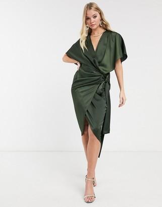 Asos Design DESIGN wrap kimono midi dress with tie waist