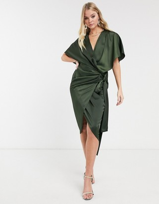ASOS DESIGN wrap kimono midi dress with tie waist