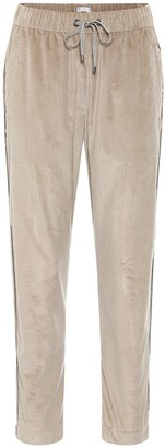 Brunello Cucinelli Cropped corduroy trackpants