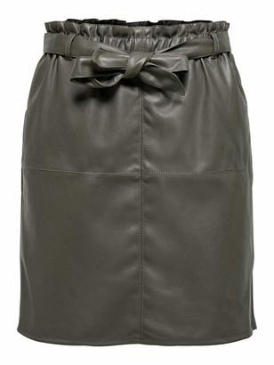 Only Women's ONLRIGIE HW PU Paper Bag Skirt PNT