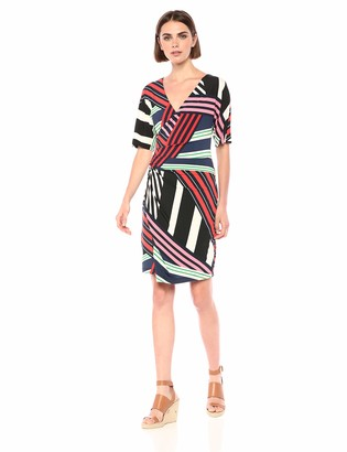 Trina Turk Women's Lifestyle Fixed Wrap Short Sleeve Dress