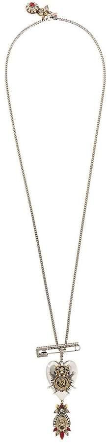 Alexander McQueen jewelled heart locket necklace