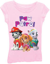 Asstd National Brand Paw Patrol Girls' Bubble Heart Logo with Marshall, Skye and Everest Short Sleeve Graphic T-Shirt with Crystalline