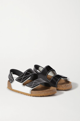 Proenza Schouler + Birkenstock Milano Two-tone Topstiched Glossed-leather Slingback Sandals - Black