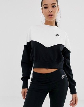 Nike Heritage Black And White Colourblock Sweatshirt