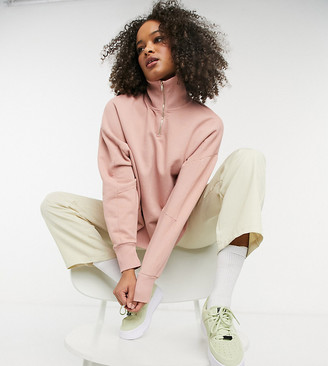 Collusion funnel neck sweatshirt co-ord in pale pink