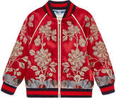 Gucci Children's satin bomber jacket with gold floral motif