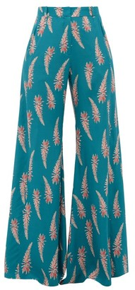 Adriana Degreas Aloe Print Silk Crepe Wide Leg Trousers - Womens - Blue Print