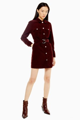 Topshop CONSIDERED Burgundy Corduroy Belted Shirt Dress With Recycled Cotton