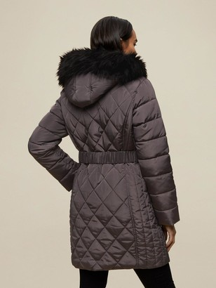Dorothy Perkins Diamond Quilt Long LengthCoat - Charcoal