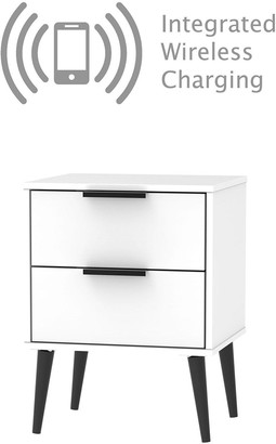 Swift Copenhagen Ready Assembled 2 Drawer Bedside Tablewith Integrated Wireless Charging