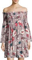 Hazel Off-the-Shoulder Smocked Dress, Purple Pattern