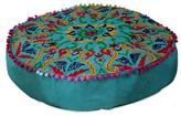 Cotton Ottoman Cover in Teal Green with Embroidery, 'Festive Pushkar in Teal'