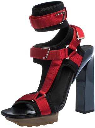 Versace Black/Red Neoprene Velcro Strap Platform Sandals Size 40