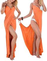 WEHOPS Women's Silky Long Cover Ups for Swimwear Spaghetti Strap Sexy Backless Beach Dress L