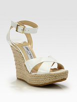 Jimmy Choo Pheonix Patent Leather Espadrille Wedge Sandals