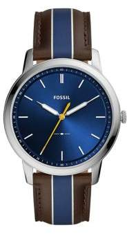 Fossil Minimalist Stainless Steel & Striped Leather-Strap Watch