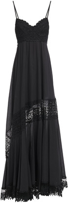Charo Ruiz Ibiza Guipure Lace-paneled Cotton-blend Mousseline Maxi Dress