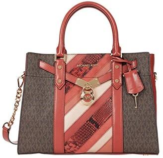 MICHAEL Michael Kors Nouveau Hamilton Large Satchel (Terracotta Multi) Handbags