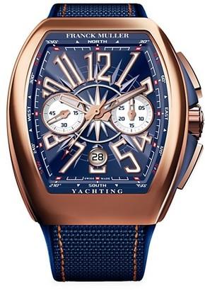 Franck Muller Vanguard Yachting Rose Gold, Alligator & Rubber Strap Chronograph Watch
