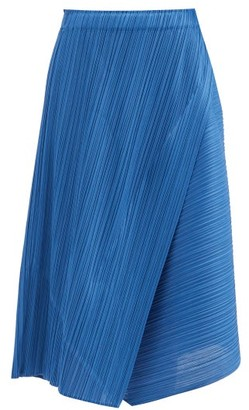 Pleats Please Issey Miyake Technical-pleated Panelled Skirt - Blue