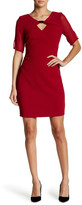 Andrew Marc Sheer Overlay Sheath Dress
