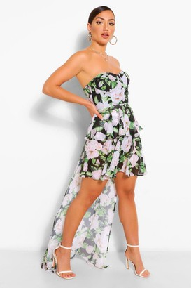 boohoo Drape Detail Corset Bust Floral Mini Dress