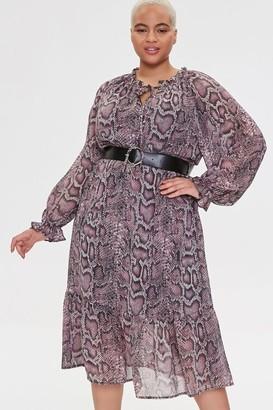 Forever 21 Plus Size Chiffon Snakeskin Print Dress