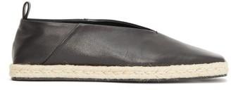 Jil Sander Square-toe Leather Espadrilles - Womens - Black