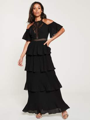 Forever Unique U Collection Cold Shoulder Tiered Maxi Dress- Black