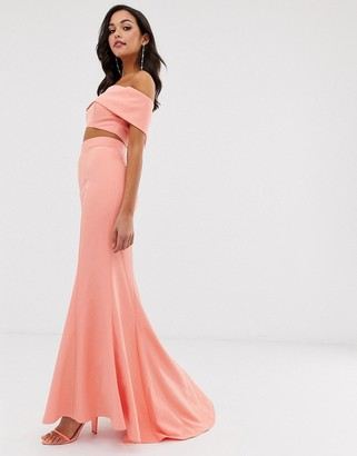 Jarlo high waist maxi fishtail skirt two-piece in coral